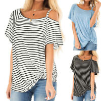 Womens Striped T-Shirt Cold Shoulder Short Sleeve Ladies Casual Tee Tops Summer