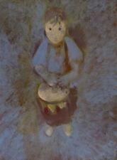LITTLE DRUMMER portrait original oil painting canvas CLASSICAL STYLE child art