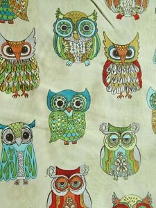 OWLS WISE OWL DETAILED COLORS CREAM COTTON FABRIC FQ
