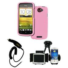 Pink Hard Rubberized Case Cover+Phone&GPS Mount+Car Charger for HTC One S