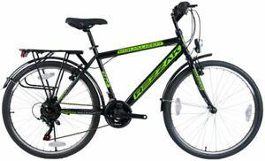 """26"""" Zoll Fahrrad Herren Fahrrad Jungen Rad Kinderfahrrad Schwarz grün -048 Neu"""