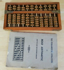 Vintage Chinese Abacus with Instruction Book - Bead Arithmetic