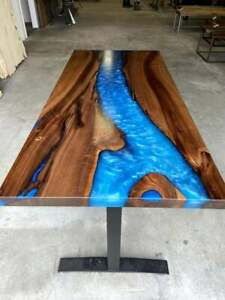 """48"""" x 24"""" Blue Epoxy Resin Office / Dining / Center Table Top Home Furniture"""