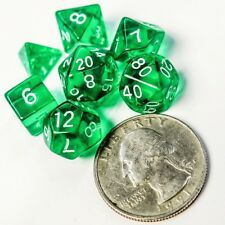Polyhedral 7 Piece Dice Set Transparent Small 10mm Mini Die Green And White