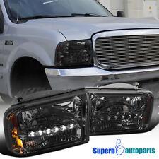 Ford 99-04 F250 F350 SuperDuty 00-04 Excursion 1PC Smoke Lens LED Headlights