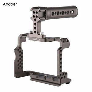 """Andoer Solid Aluminum Camera Cage Kit w/ Video Rig Handle Grip w/ 1/4"""" H9G7"""