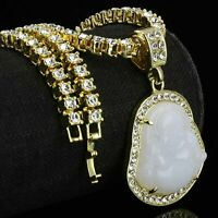 "14K Gold Plated White Buddha Pendant 5mm 20"" Tennis Necklace Chain HipHop"