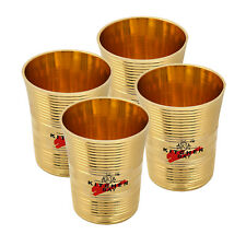 4 Pc Indian Handmade Traditional Brass Tumbler Water Drinking Glass Home Hotel