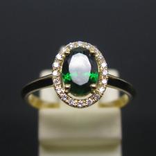 Natural 5x7mm Oval Green Tsavorite 14K Solid Yellow Gold Diamond Ring Jewelry