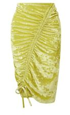 Miss Selfridge Chartreuse velvet rushed Skirt Size 8 BNWT £25 yellow
