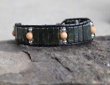 Men's Serpentine Black Leather Bead Bracelet