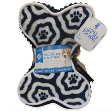 AKC Fleece Dog Pillow & Blanket Holiday Gift Set Blue