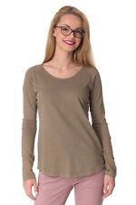 DIESEL Size S Women's T-ELECTRE-H Linen Blend Long Sleeve T-Shirt Top