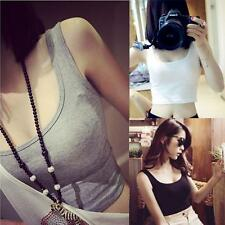 SEXY Vest Women Tight Crop Top Cotton Skinny O-Neck Sports Dance Short Vest