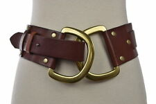 Linea Pelle Collection Belt Sz M Mahogany Brown Hip Wide Width Leather Casual