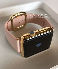 24K Gold Plated 42MM Apple Watch SERIES 2 ROSE Modern Leather Buckle Small/M
