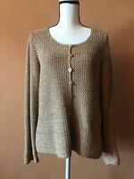 Peruvian Connection Beige 100% Pima Cotton Knit Cardigan Sweater Size Medium