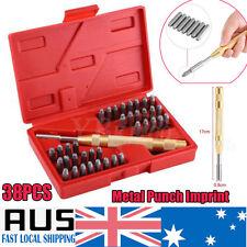 "38ps Steel Number Letter Metal Punch Set 1/8"" Stamp Automatic Center Alphabet AU"