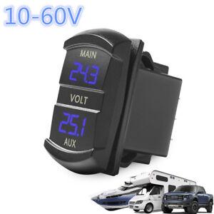 Universal 10-60V Blue LED Dual Digital Voltmeter Voltage Monitor Car Truck Boat