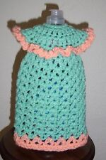 Tall Dress Dish Soap Bottle Cover, Crochet, New, Peach and Mint Green, Handmade