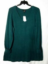 NEW Calvin Klein 1X Cotton Tunic Shaped Long Sweater Top Dk Green NWT Cat Rescue