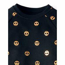 Girls 6/6X (S) Black Fleece Pullover Sweatshirt W/ Gold Smiling Emojis-Shirt-Top