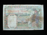 ALGERIA 50 FRANCS 1941 FRENCH ALGERIE P84 99# Currency World Money Banknote