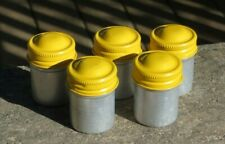5 Kodak 35mm Metal Film Canisters Silver with Yellow Top - Preowned Vintage