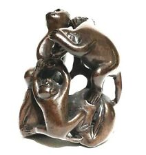 "Y5966 -20 Years Old 2"" Hand Carved Ebony Ironwood Netsuke - 3 Monkeys on Tree"
