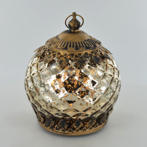 Beautiful Small Moroccan Style Glass Lantern Gold With LED Lighting New & Boxed