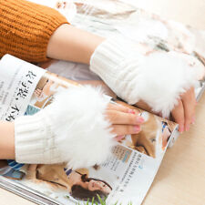 Women Gloves Winter Warm Knitted Fingerless Faux Fur Mitten Crochet Braid