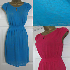 NEW EX Mantaray Beach Holiday Summer Dress Stretch Jersey Burnout Pink Blue 8-20