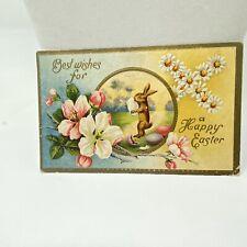 Vintage Easter Postcard 1910 Antique Rabbit Eggs Colorful Best Wishes Walker MO