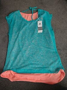 Adidas Ladies 2in1 Sports Tank Top Running Shirt Fitness size 12 Turquoise Coral