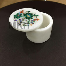 2'' White Marble Jewelry Box Semi Precious Stone Inlay Floral Design Peitra Dura