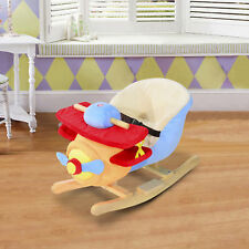 Kid's Rocking Horse Plane Seat Riding Plush Cartoon Chair w/ Seat Belt & Songs