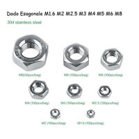 50/100Pz Viti Dadi Esagonali M1.6/M2/M2.5/M3/M4/M5/M6/M8 Acciaio Inox Hex Nuts