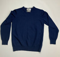 JASPER CONRAN Men's 100% Merino Wool Navy Blue V-Neck Jumper Size Small