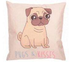Pugs & Kisses Cushion Home Decor Filled Pillow Dog/Puppy Gift NEW