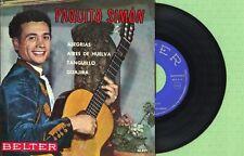 PAQUITO SIMON / Spanish Flamenco Guitar / BELTER 50.891 Press. Spain 1961 EP EX