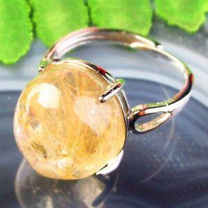 Copper Wrap Natural Gold Rutilated Quartz Oval AdjustablePendant Ring B50632