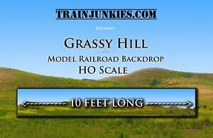 """Train Junkies HO Scale """"Grassy Hill"""" Model Railroad Backdrop 18""""x120"""""""