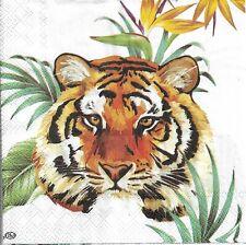 Lot de 3 Serviettes en papier Cocktail Tigre Safari Decoupage Decopatch