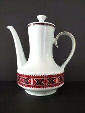 Winterling Bavaria Germany Vintage China Coffee Pot Red Black
