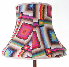 Lampshade in bright multi-coloured geometric fabric for standard lamp or ceiling