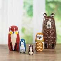 5PCS Wooden Animal Bear Russian Doll Matryoshka Toy Decor Nesting Dolls Kid