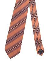 Ermenegildo Zegna Made in ITALY Brown Copper Striped Woven SILK COTTON Tie