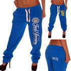 Jeel Pantaloni Donna Jeans sportivi fitness Pigiama da ginnastica Blu NUOVO