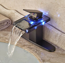 LED Light Glass Waterfall Spout Bathroom Sink Faucet Mixer Tap with Cover Plate