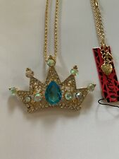 Betsey Johnson Blue Shiny Crystal Crown Pendant Sweater Chain Necklace-BJ59969
